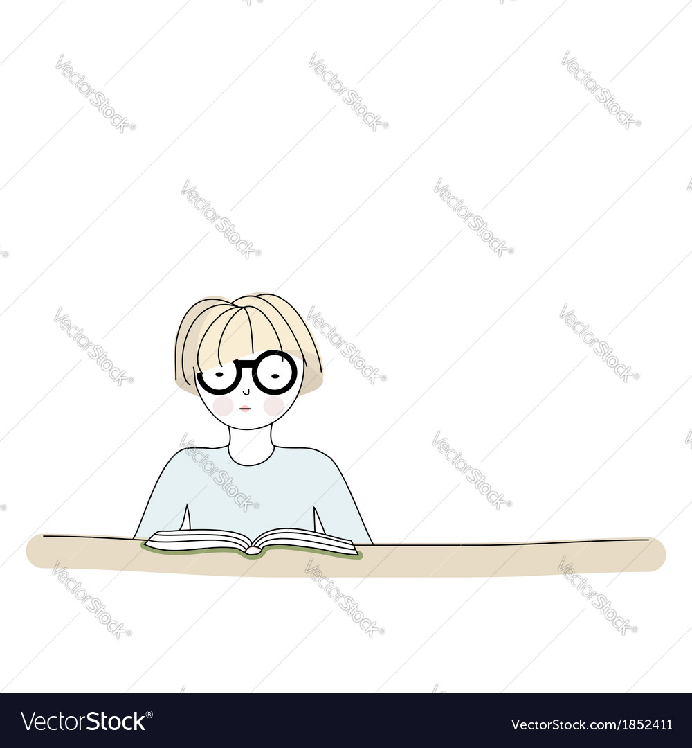 Cartoon character reading a book vector | Price: 1 Credit (USD $1)