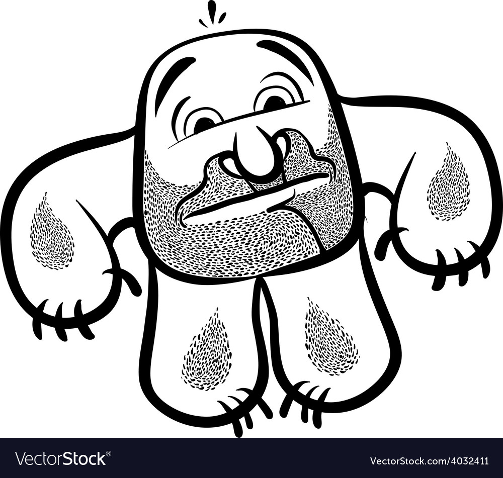 Funny cartoon monster with stubble black and white vector | Price: 1 Credit (USD $1)