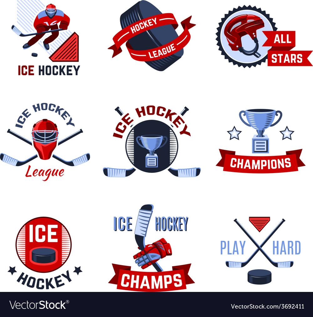 Hockey emblems set vector   Price: 1 Credit (USD $1)