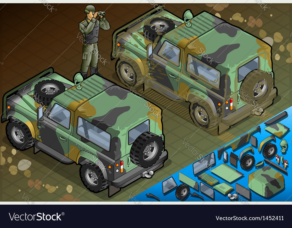Isometric military jeep with soldier in rear view vector | Price: 1 Credit (USD $1)