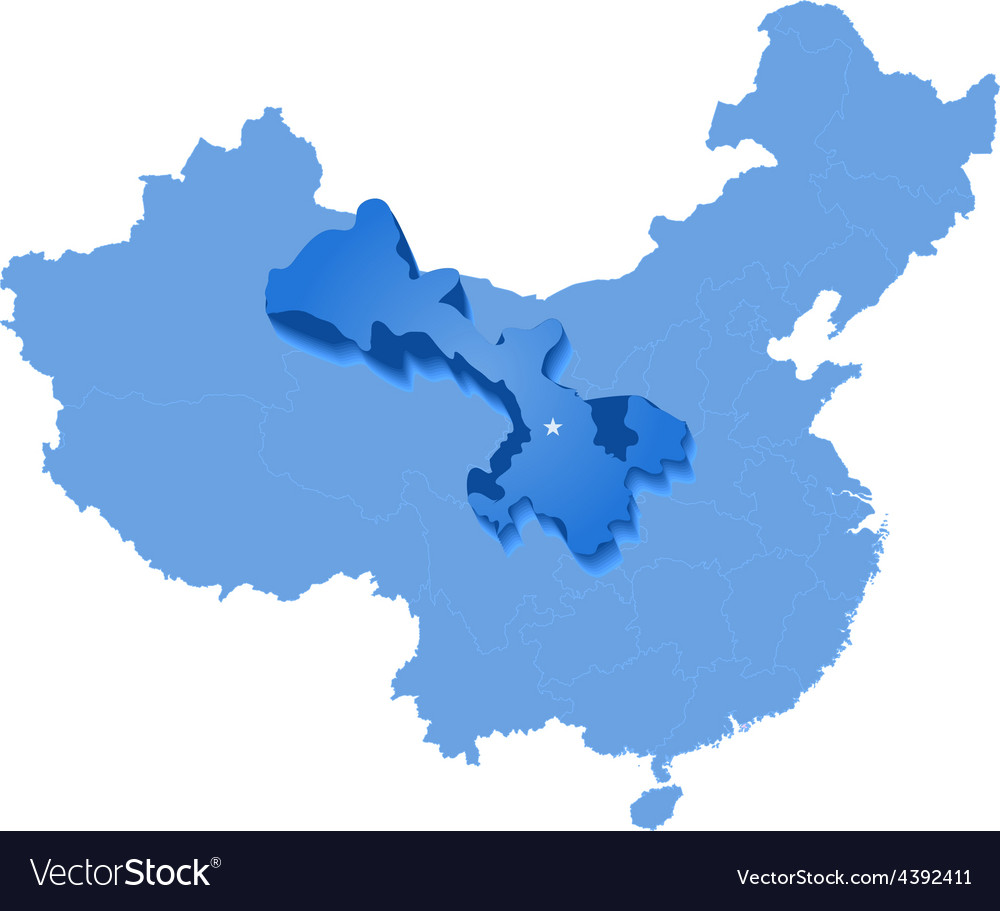 Map of peoples republic of china - gansu province vector | Price: 1 Credit (USD $1)