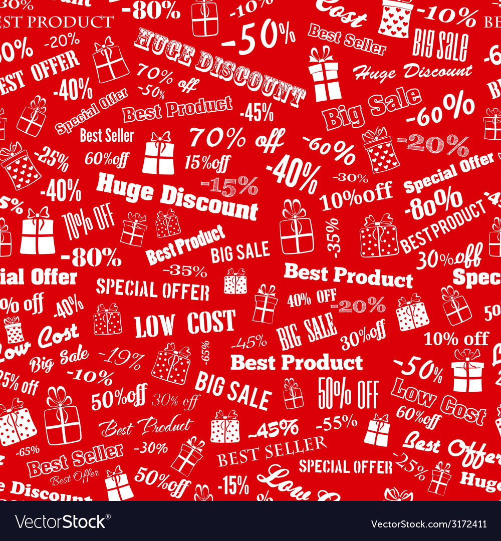 Seamless pattern on discounts and special offers vector | Price: 1 Credit (USD $1)
