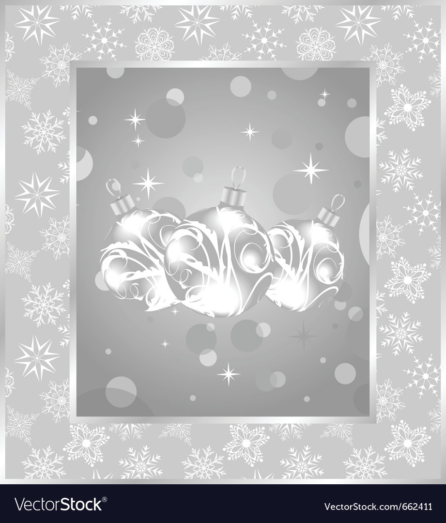 Set christmas balls on snowflakes background - vector | Price: 1 Credit (USD $1)