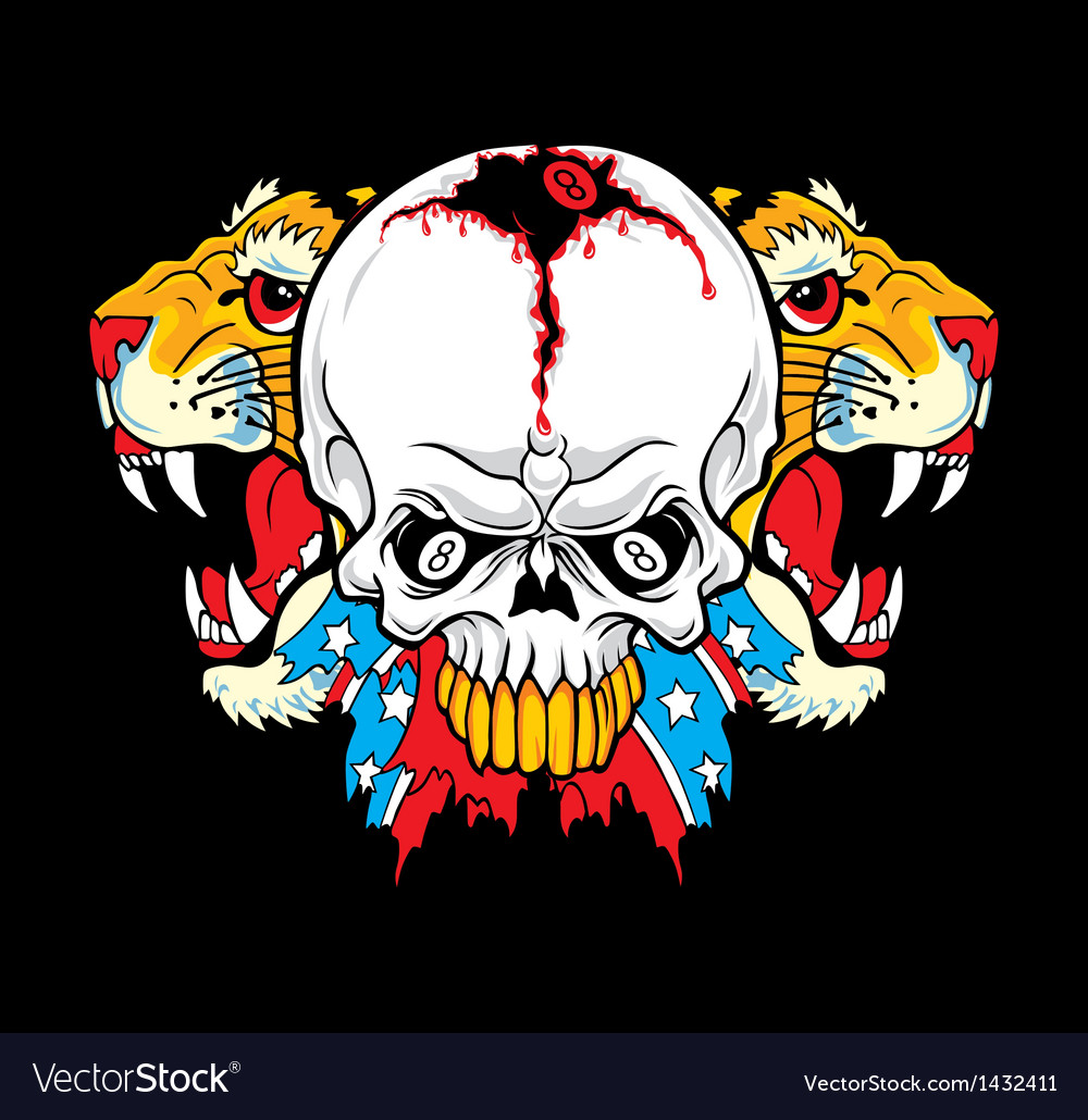 Tiger rebel skull vector | Price: 1 Credit (USD $1)