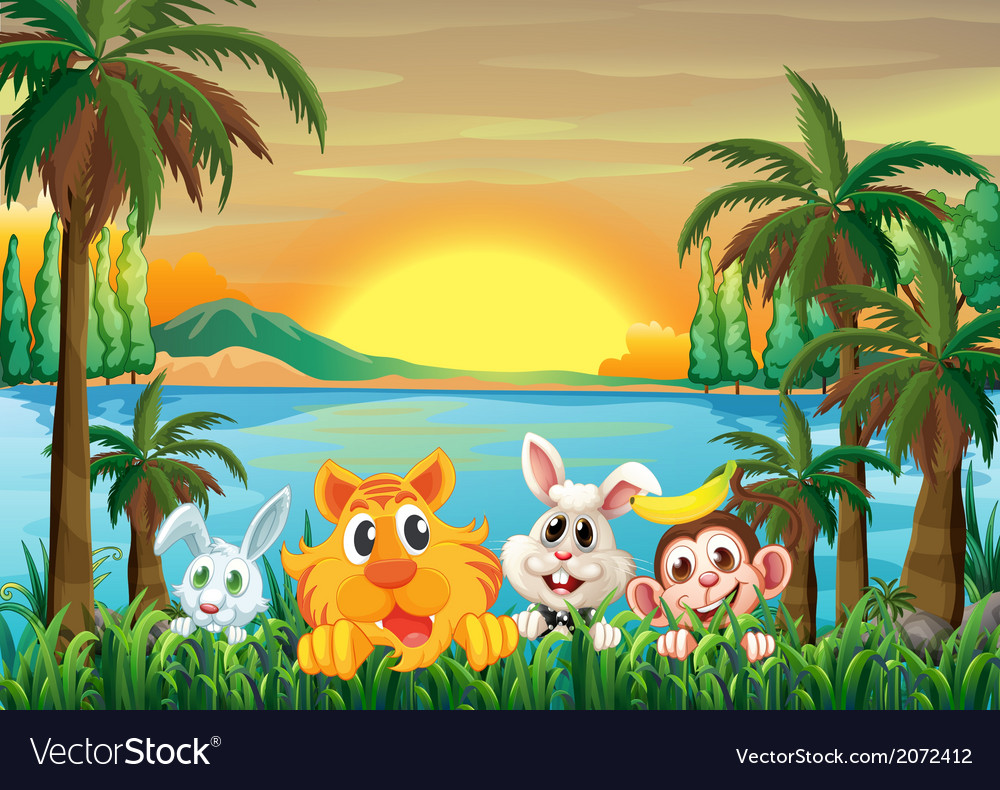 Animals at the riverbank with coconut trees vector | Price: 1 Credit (USD $1)