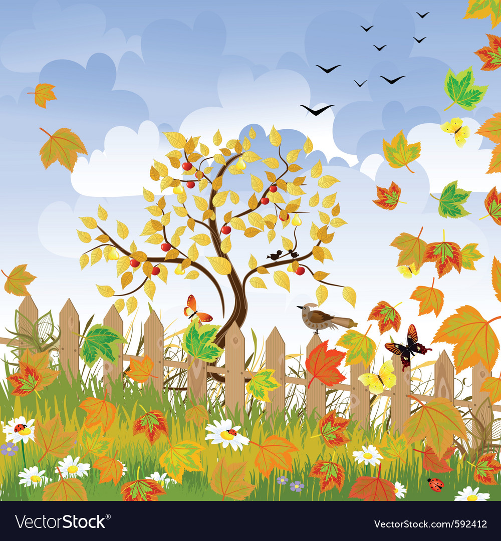 Autumn landscape vector | Price: 1 Credit (USD $1)
