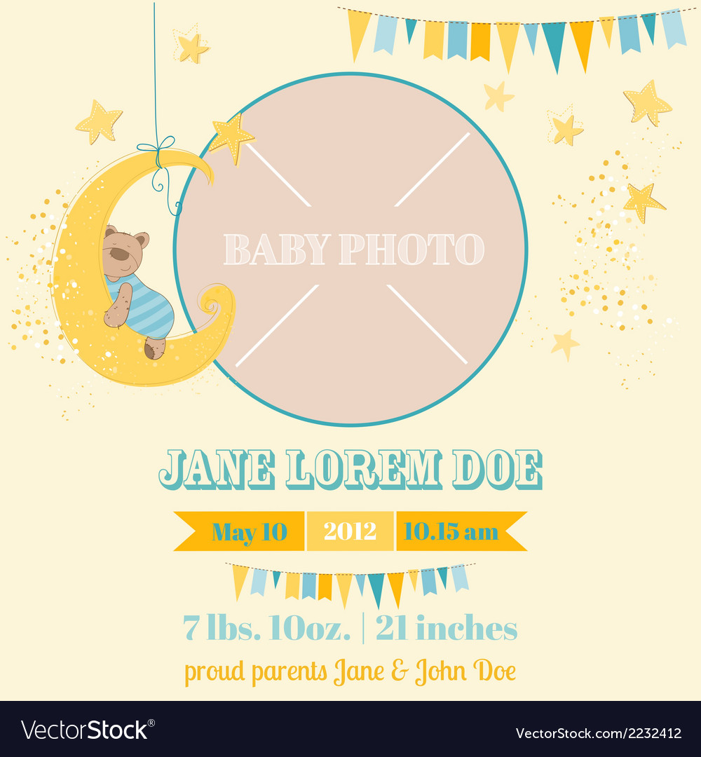 Baby arrival card - sleeping bear theme vector | Price: 1 Credit (USD $1)