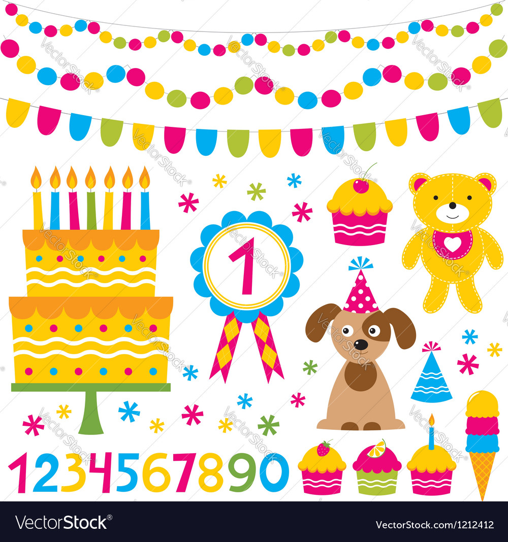 Birthday party design elements set vector | Price: 1 Credit (USD $1)