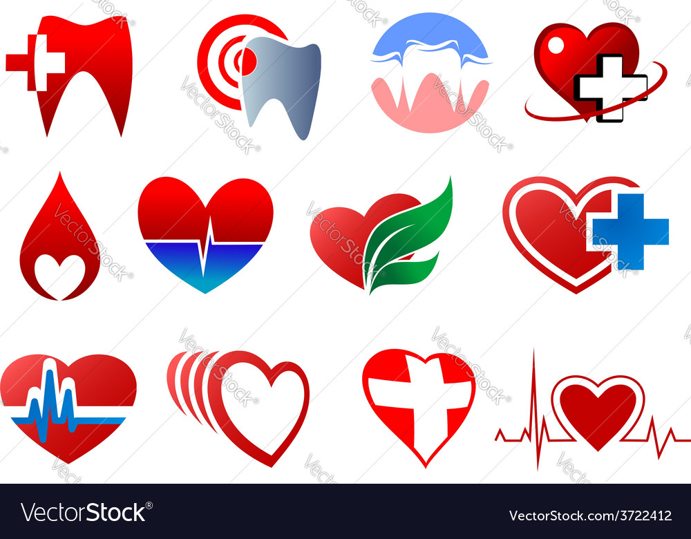 Cartoon teeth and hearts for dentistry design vector | Price: 1 Credit (USD $1)