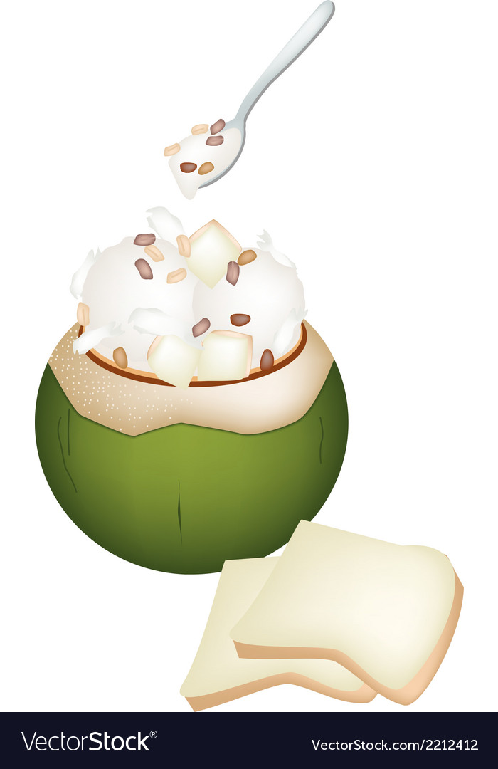 Coconut ice cream with nuts and bread vector | Price: 1 Credit (USD $1)