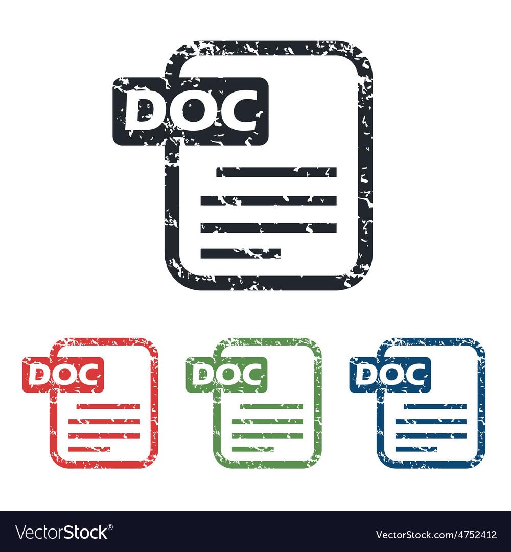 Doc file grunge icon set vector   Price: 1 Credit (USD $1)