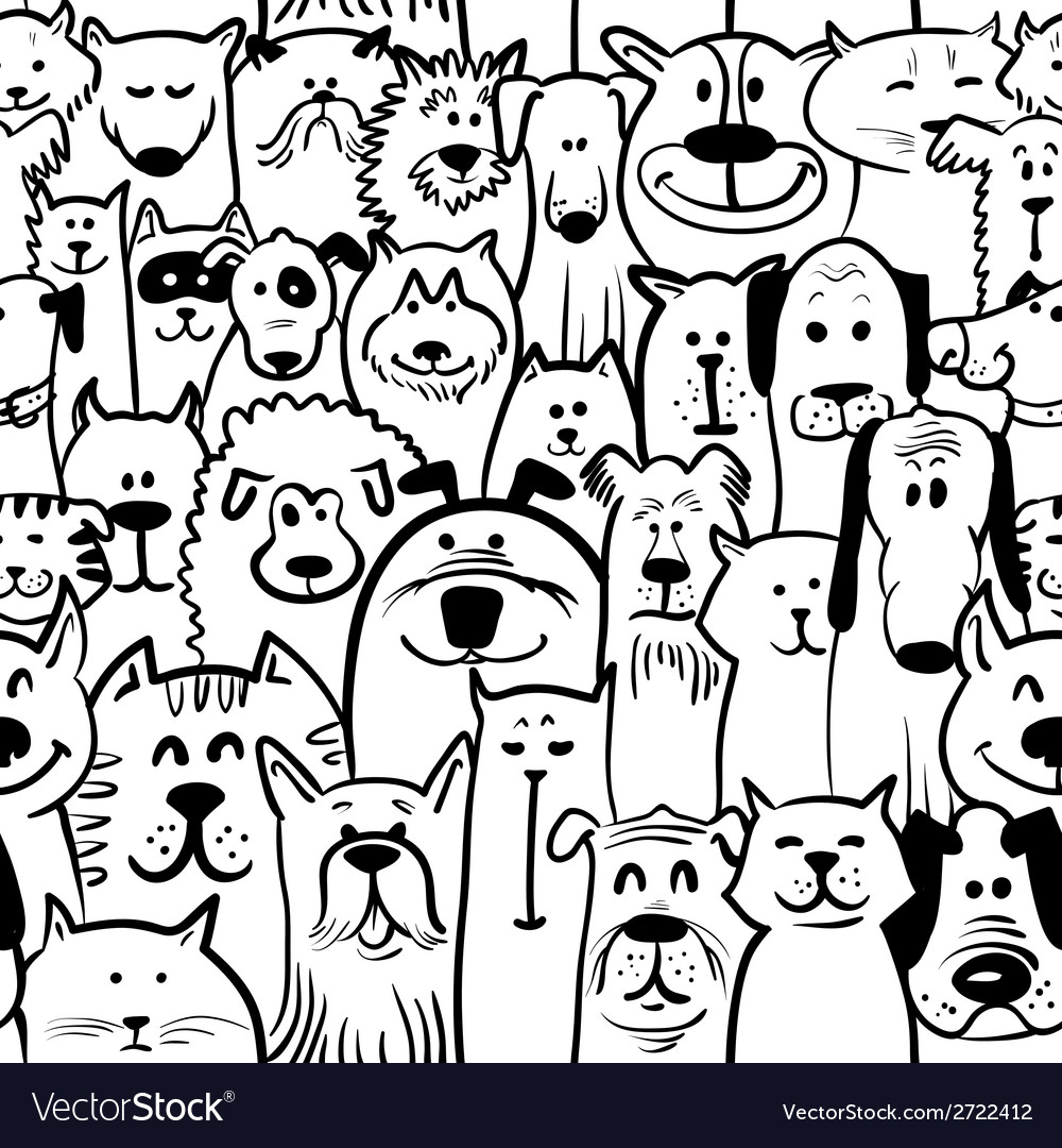 Dogs and cats seamless vector