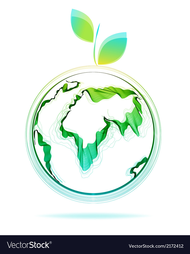 Globe abstract icon with green leaf vector | Price: 1 Credit (USD $1)