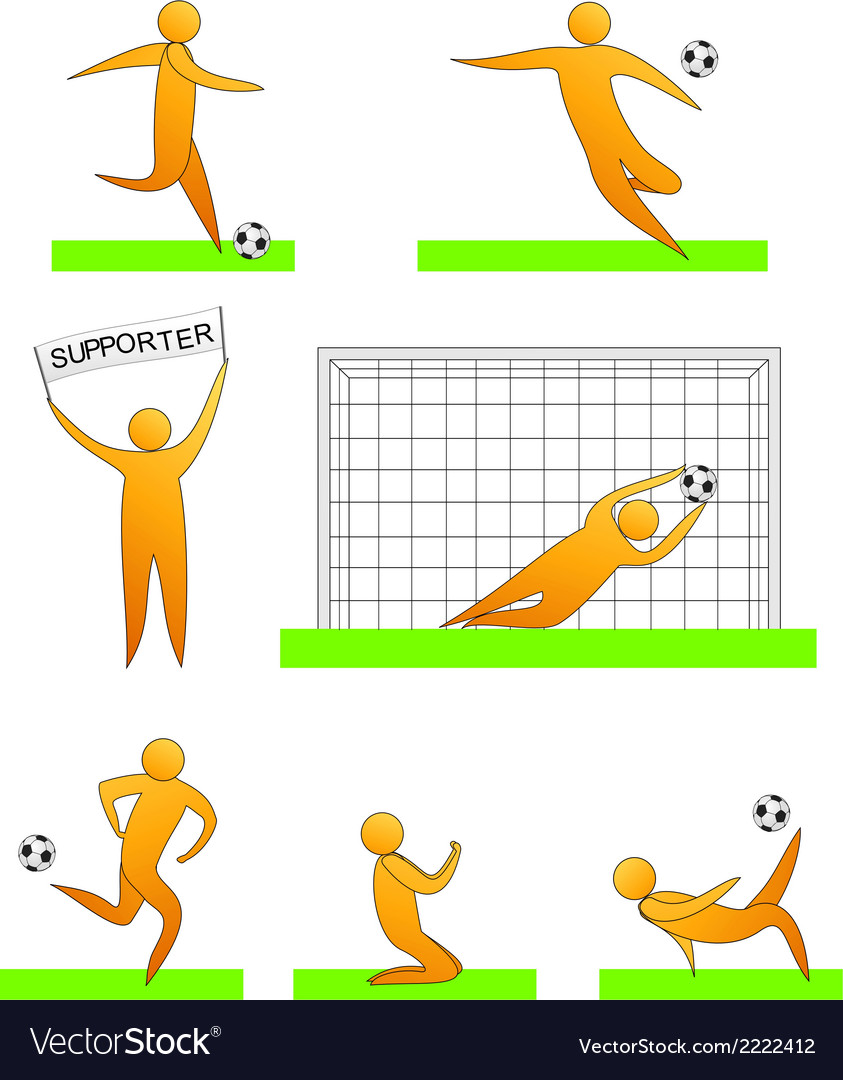 Human soccer and football silhouettes vector | Price: 1 Credit (USD $1)