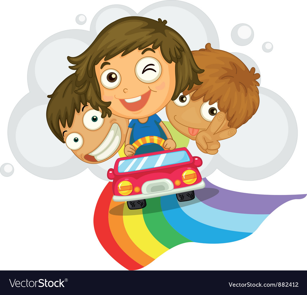 Kids in a car vector | Price: 5 Credit (USD $5)