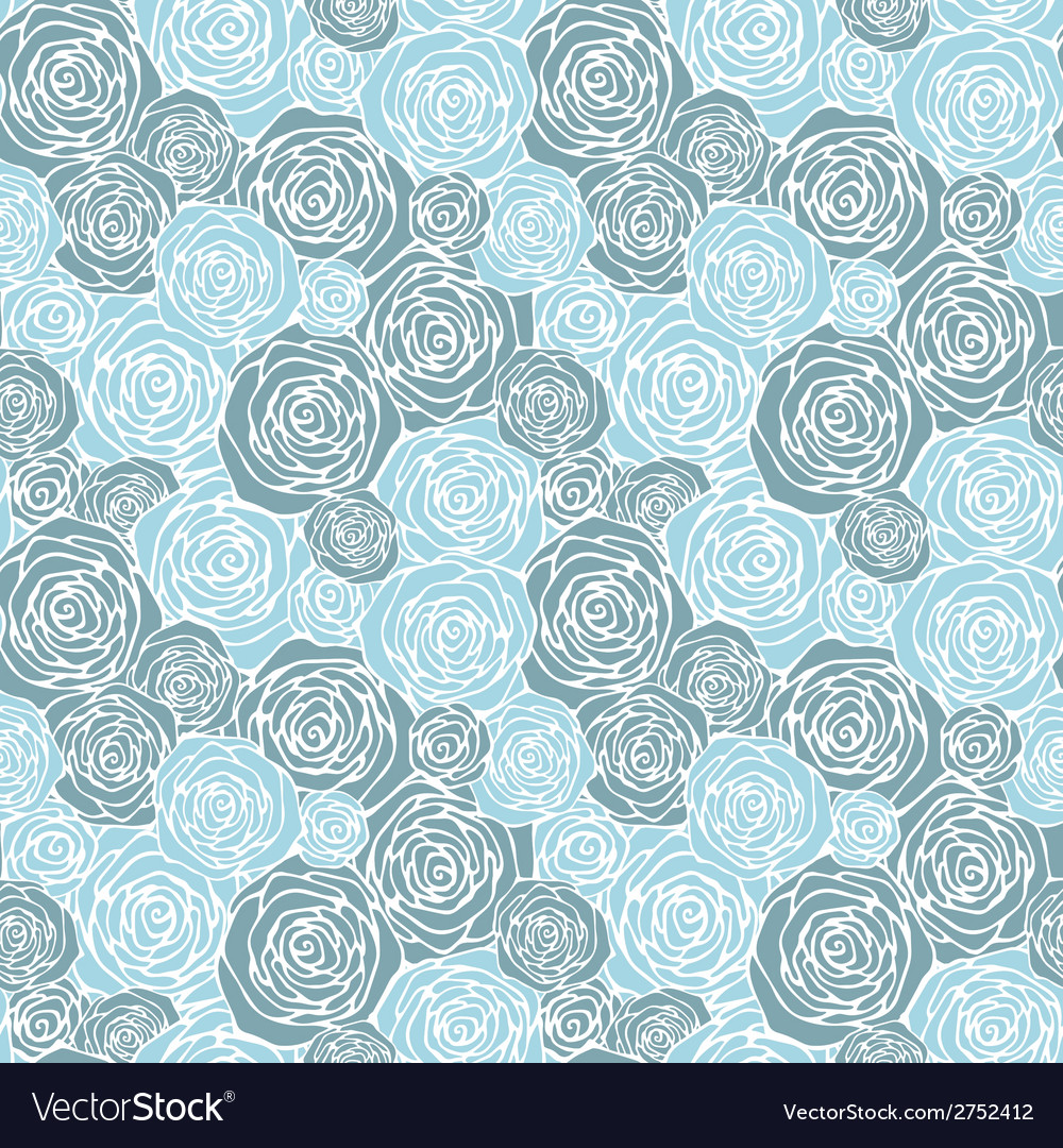 Seamless pattern with outline roses vector | Price: 1 Credit (USD $1)