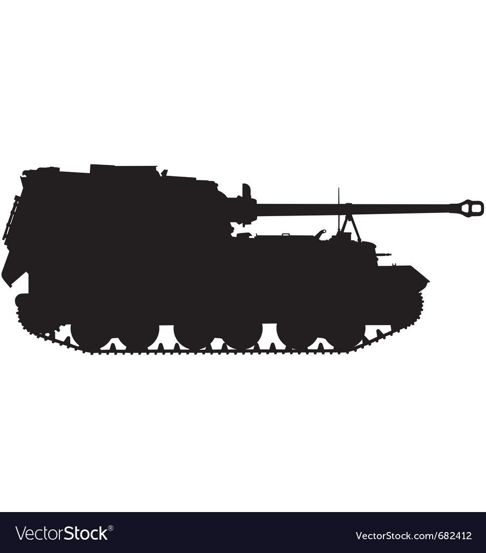 Self propelled artillery gun silhouette vector | Price: 1 Credit (USD $1)