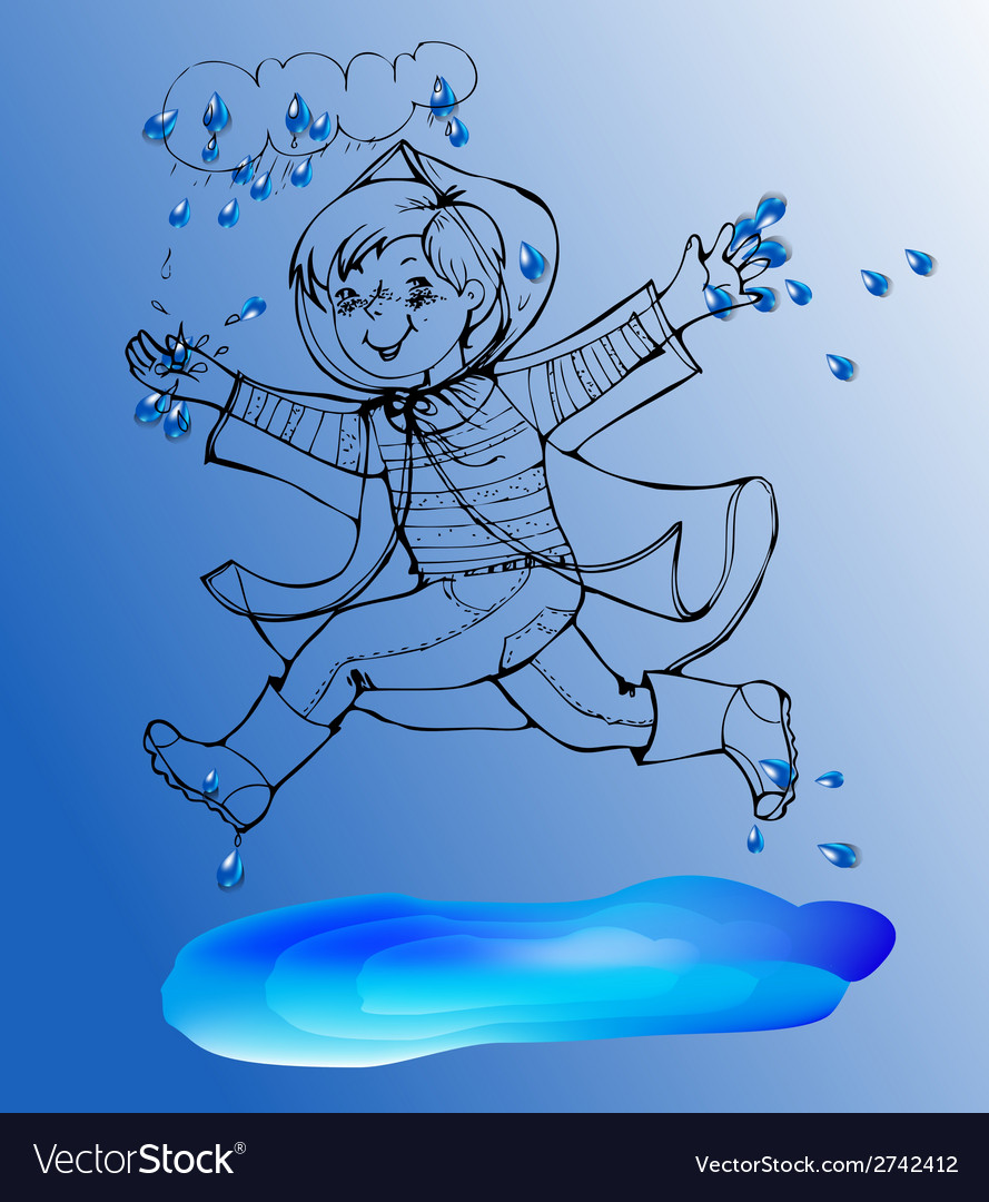Sketch boy under rain spring jump in the puddles vector | Price: 1 Credit (USD $1)