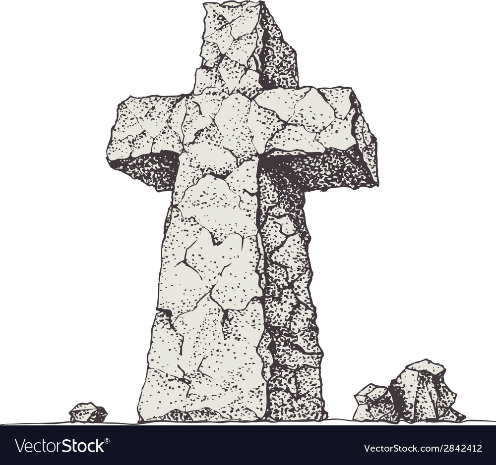 Stone cross vector | Price: 1 Credit (USD $1)