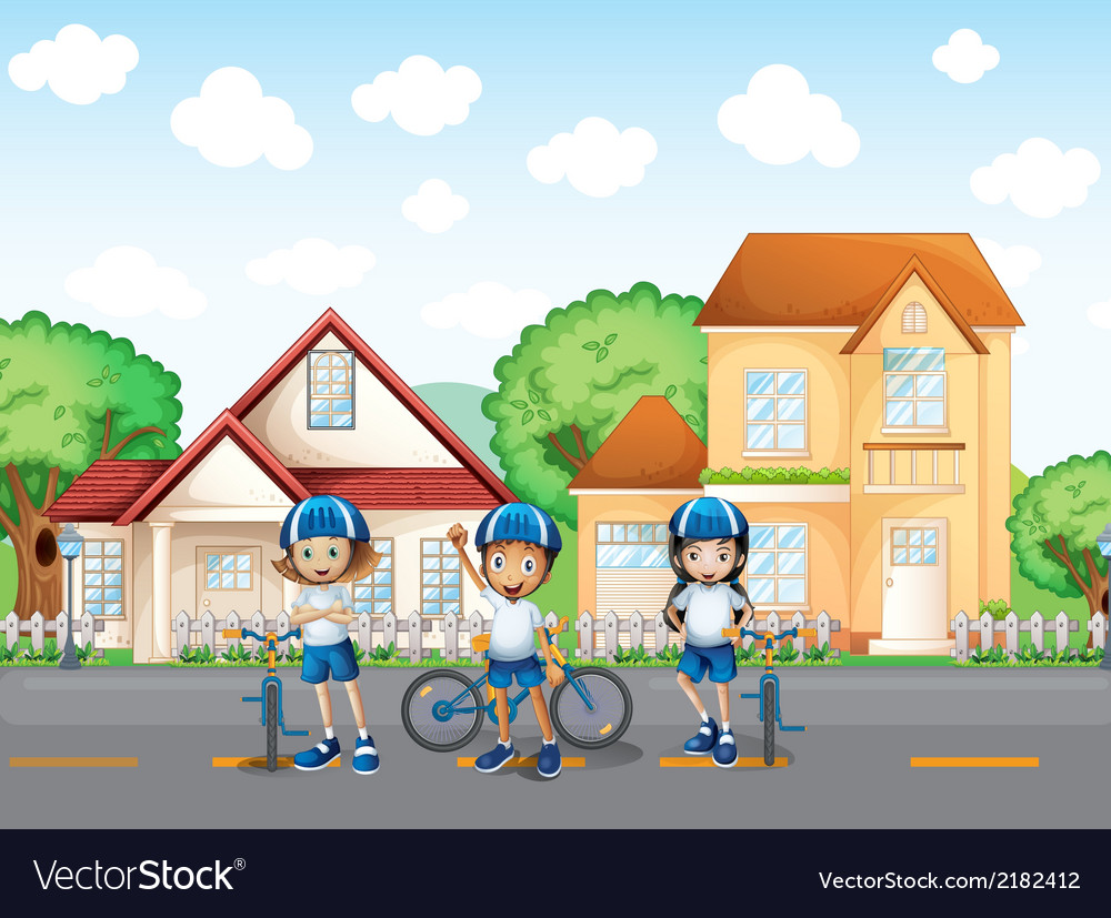 Three cute bikers at the road vector | Price: 3 Credit (USD $3)