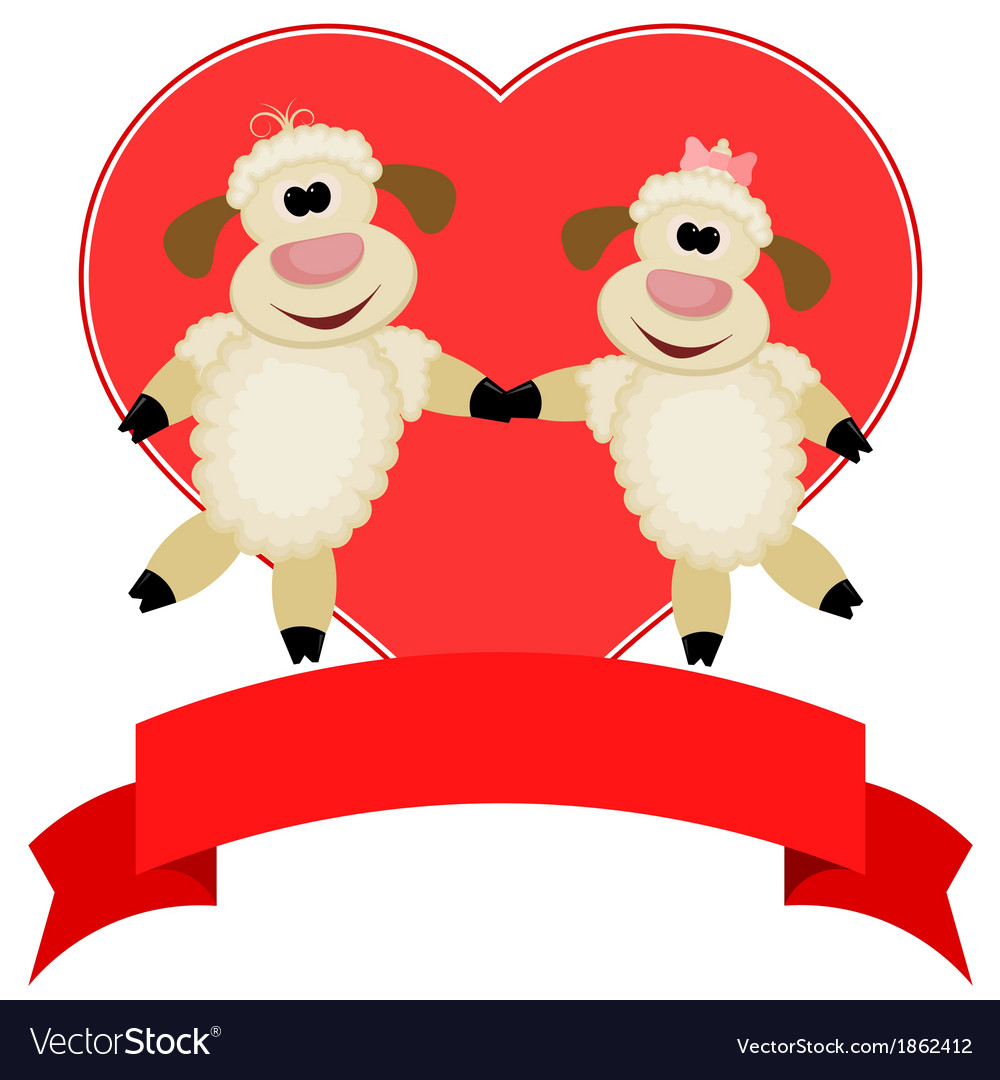 Two sheep on a background of red hearts vector | Price: 1 Credit (USD $1)