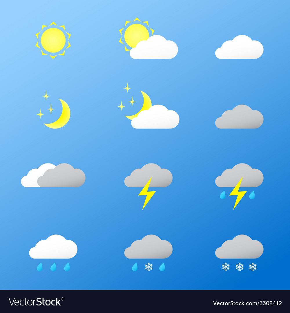 Universal color icons weather vector | Price: 1 Credit (USD $1)