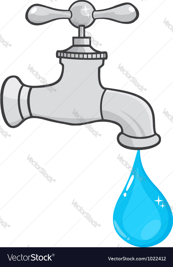 Water faucet with water drop vector | Price: 1 Credit (USD $1)