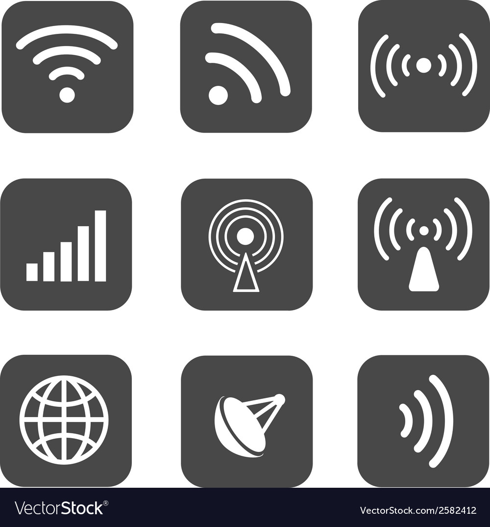 Wireless icons set white silhouettes on black vector | Price: 1 Credit (USD $1)