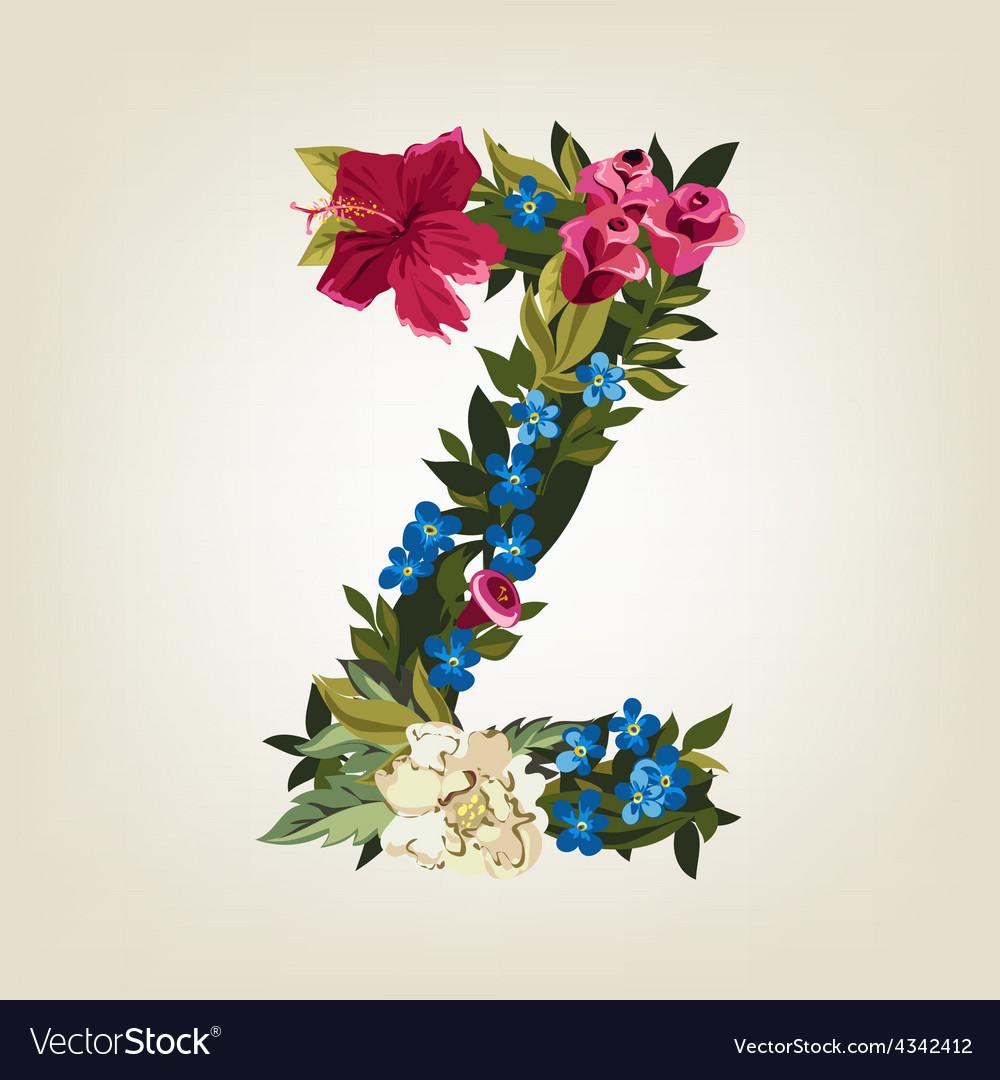 Z letter flower capital alphabet colorful font vector | Price: 1 Credit (USD $1)