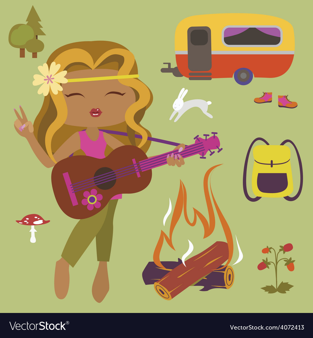 Camping set with girl guitarist vector | Price: 1 Credit (USD $1)