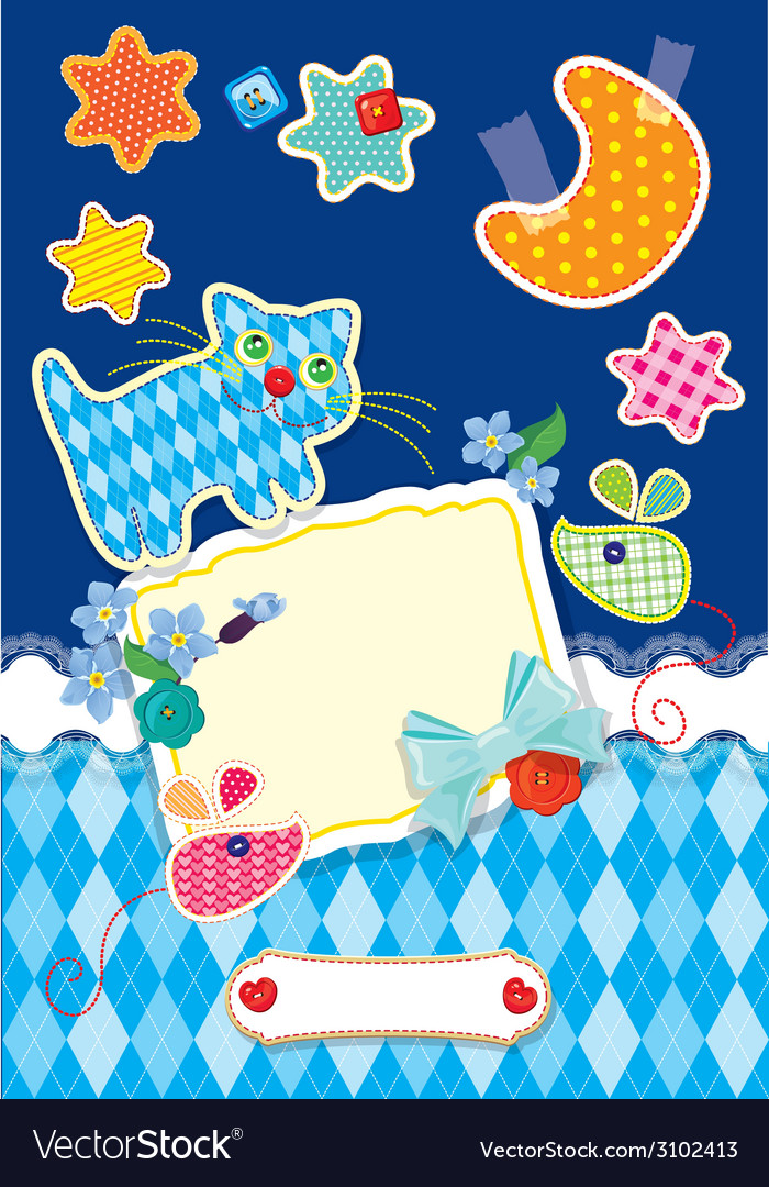 Cat scrappbook card 380 vector | Price: 1 Credit (USD $1)