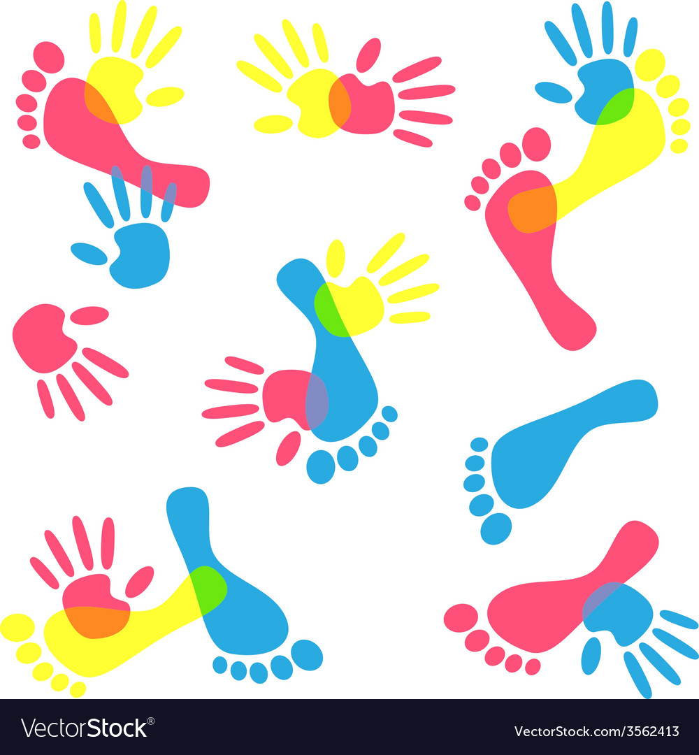 Colorful hand prints and foot vector | Price: 1 Credit (USD $1)