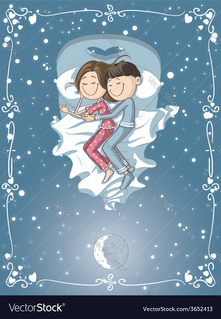 Cute cartoon couple cuddles in bed vector | Price: 1 Credit (USD $1)