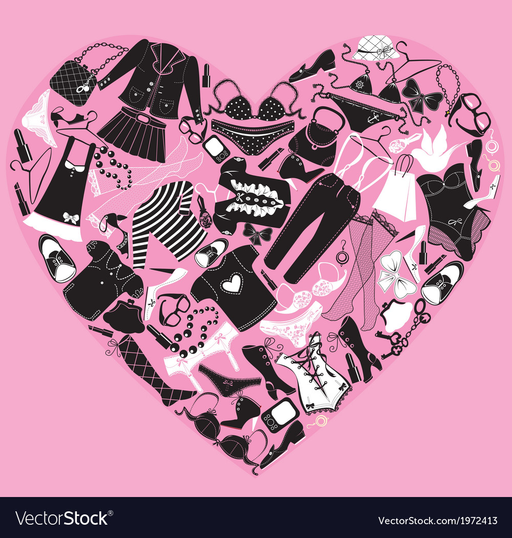 I love shopping image the heart is made of differe vector | Price: 1 Credit (USD $1)