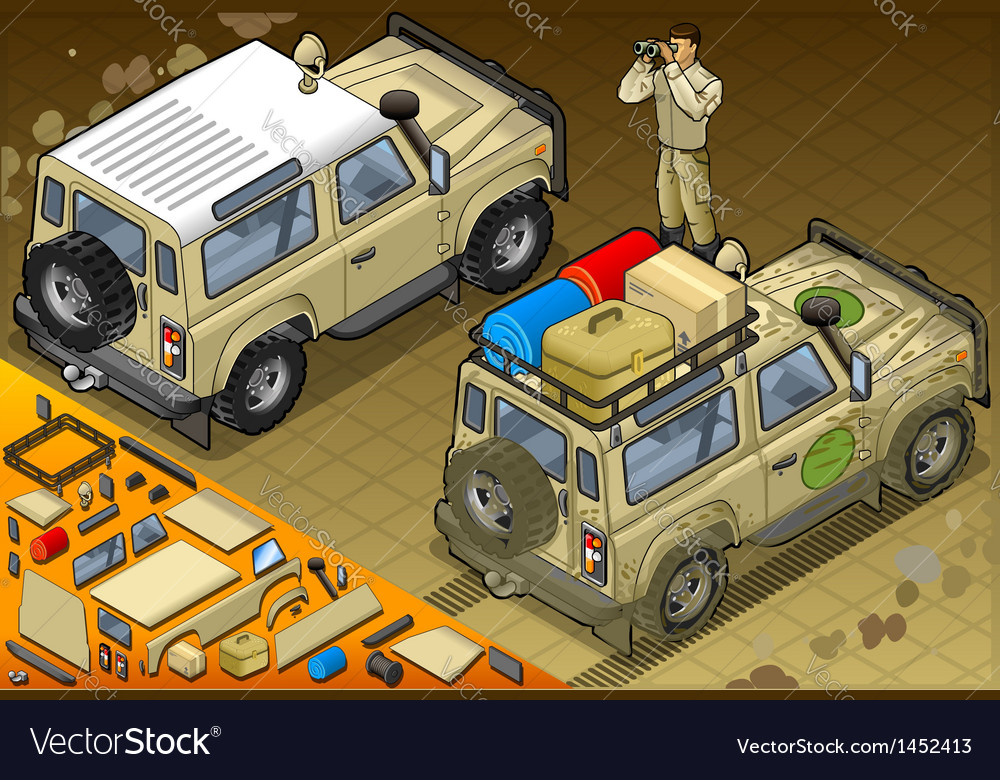 Isometric safari jeep in rear view vector | Price: 1 Credit (USD $1)