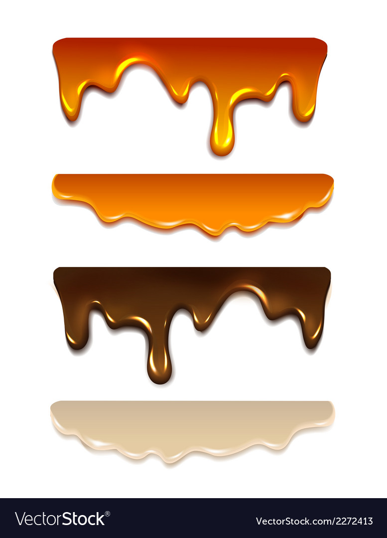 Set melting chocolate milk cream liquid caramel vector | Price: 1 Credit (USD $1)