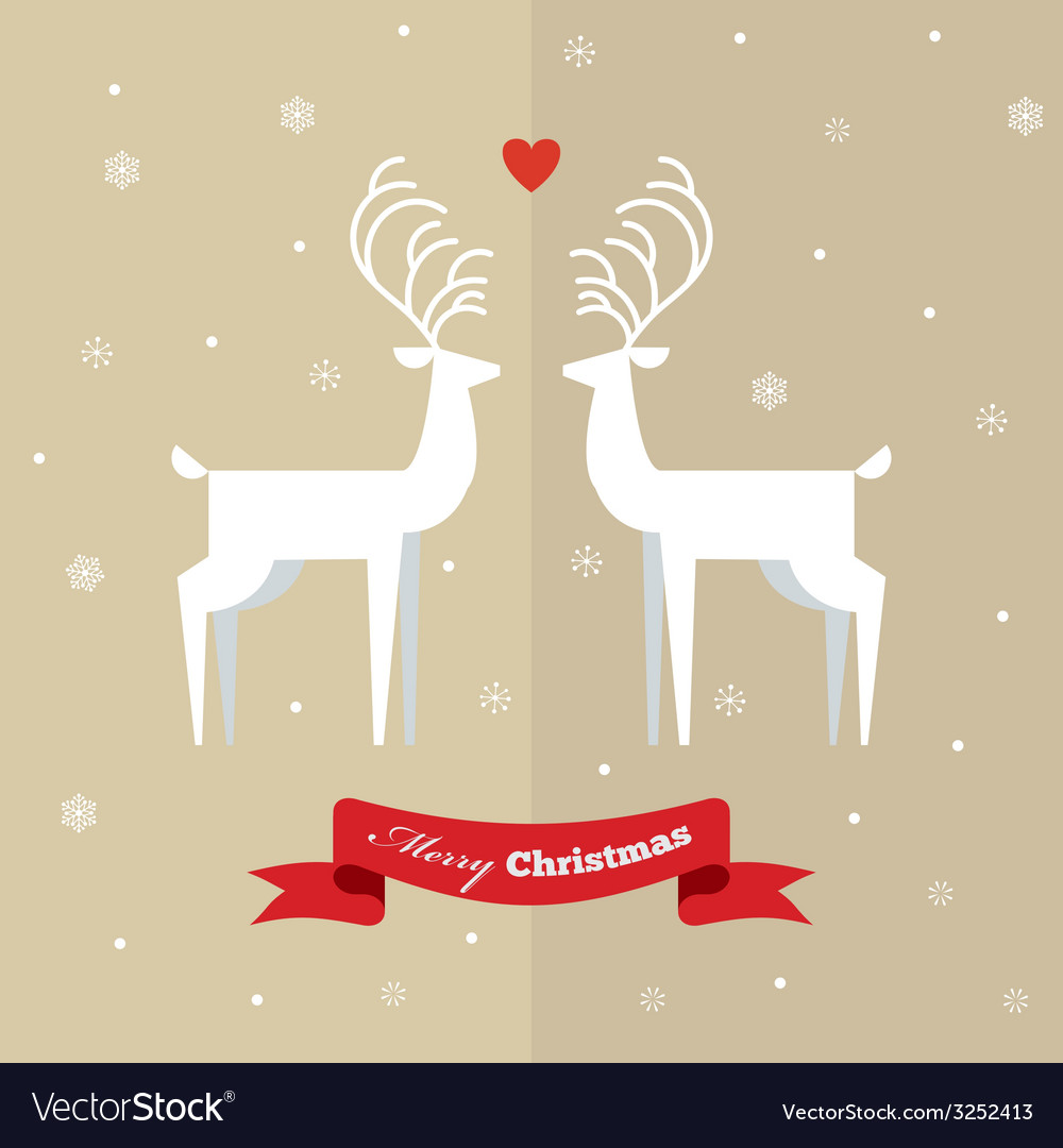 Two deer on christmas greeting card vector | Price: 1 Credit (USD $1)