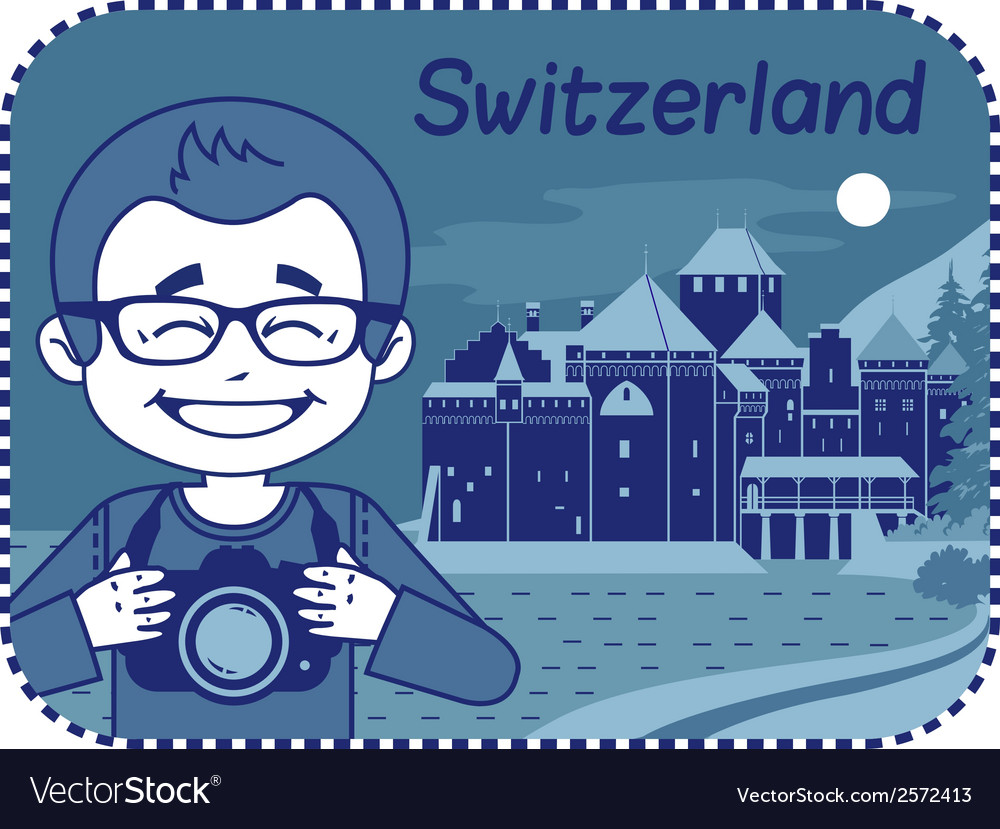 With chillon castle in switzerland vector | Price: 1 Credit (USD $1)