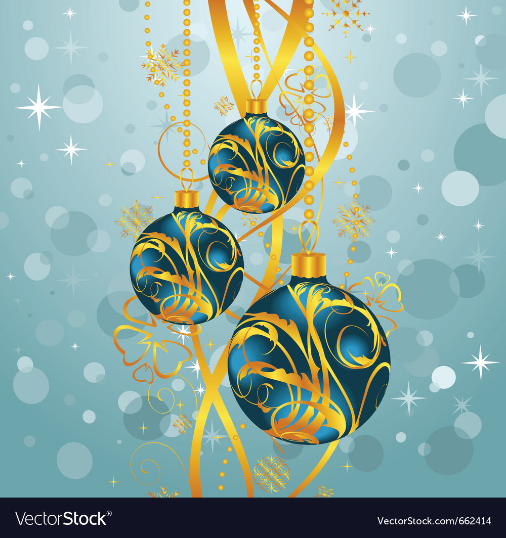 Abstract blue background with christmas balls - vector | Price: 1 Credit (USD $1)