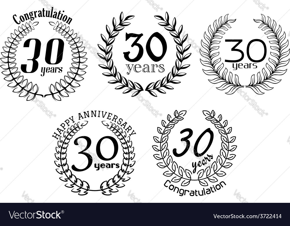 Anniversary black laurel wreaths in outline style vector | Price: 1 Credit (USD $1)