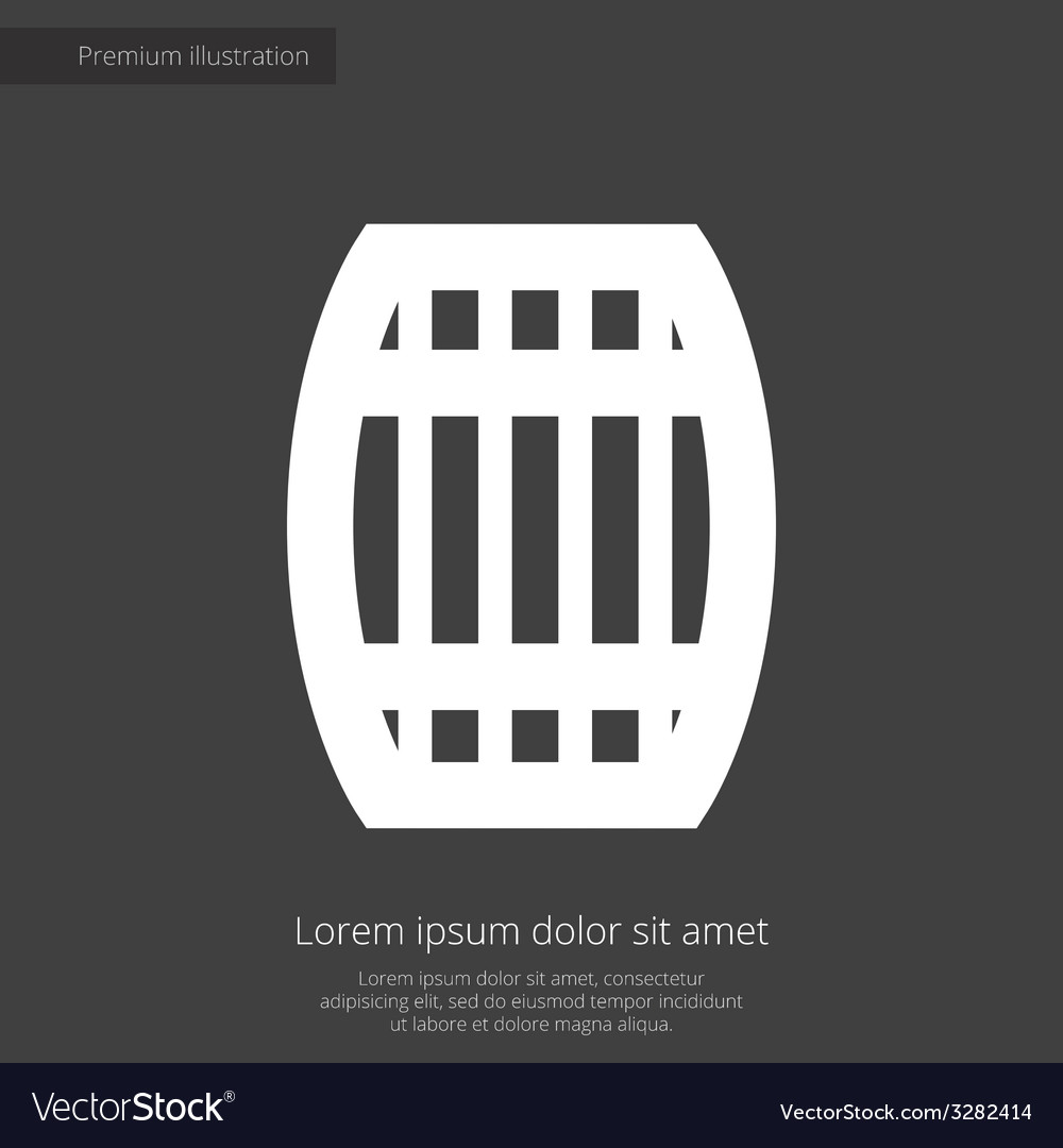 Barrel premium icon white on dark background vector | Price: 1 Credit (USD $1)