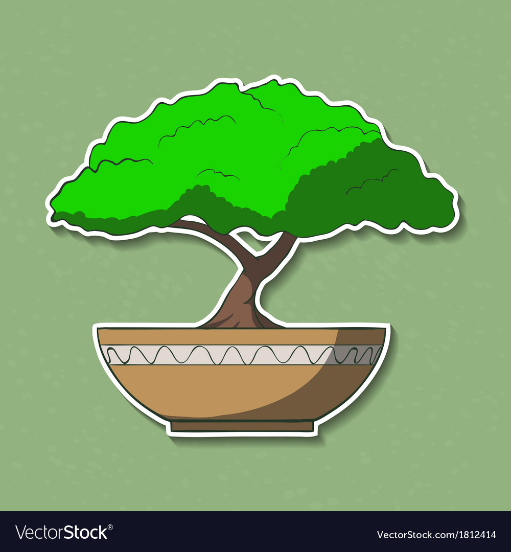 Colorful paper bonsai tree vector | Price: 1 Credit (USD $1)