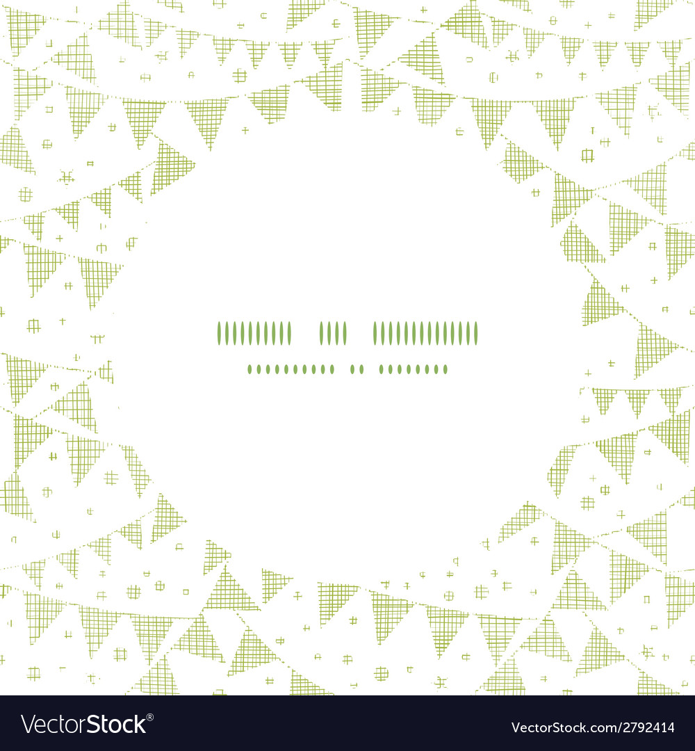 Green textile party bunting frame circle pattern vector | Price: 1 Credit (USD $1)
