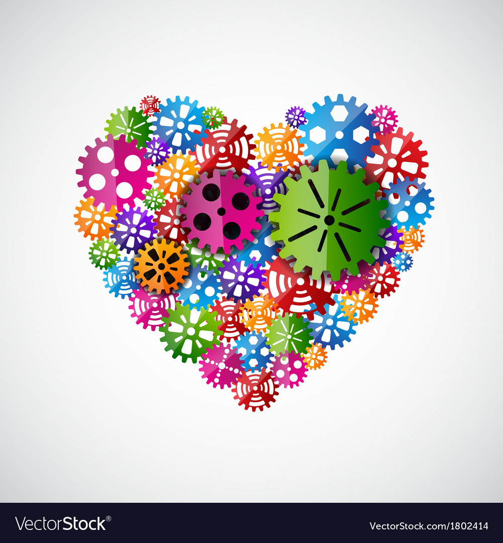 Heart of gears vector | Price: 1 Credit (USD $1)