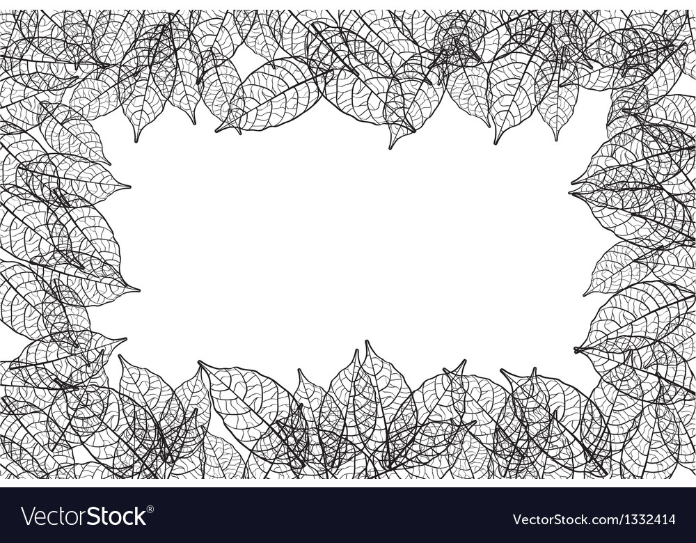 Leaves frame black out line background vector | Price: 1 Credit (USD $1)