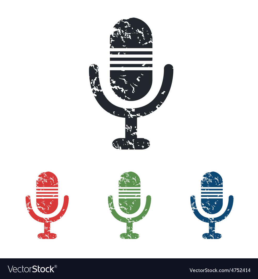 Microphone grunge icon set vector | Price: 1 Credit (USD $1)