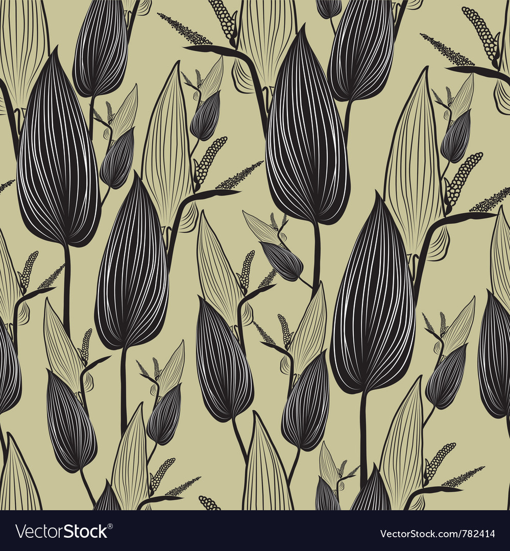 Seamless floral pattern with leafs vector | Price: 1 Credit (USD $1)