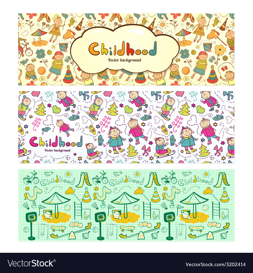 Set colorful children banners in cartoon style vector | Price: 1 Credit (USD $1)