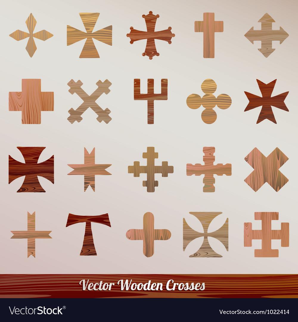 Set crosses wooden vector   Price: 1 Credit (USD $1)