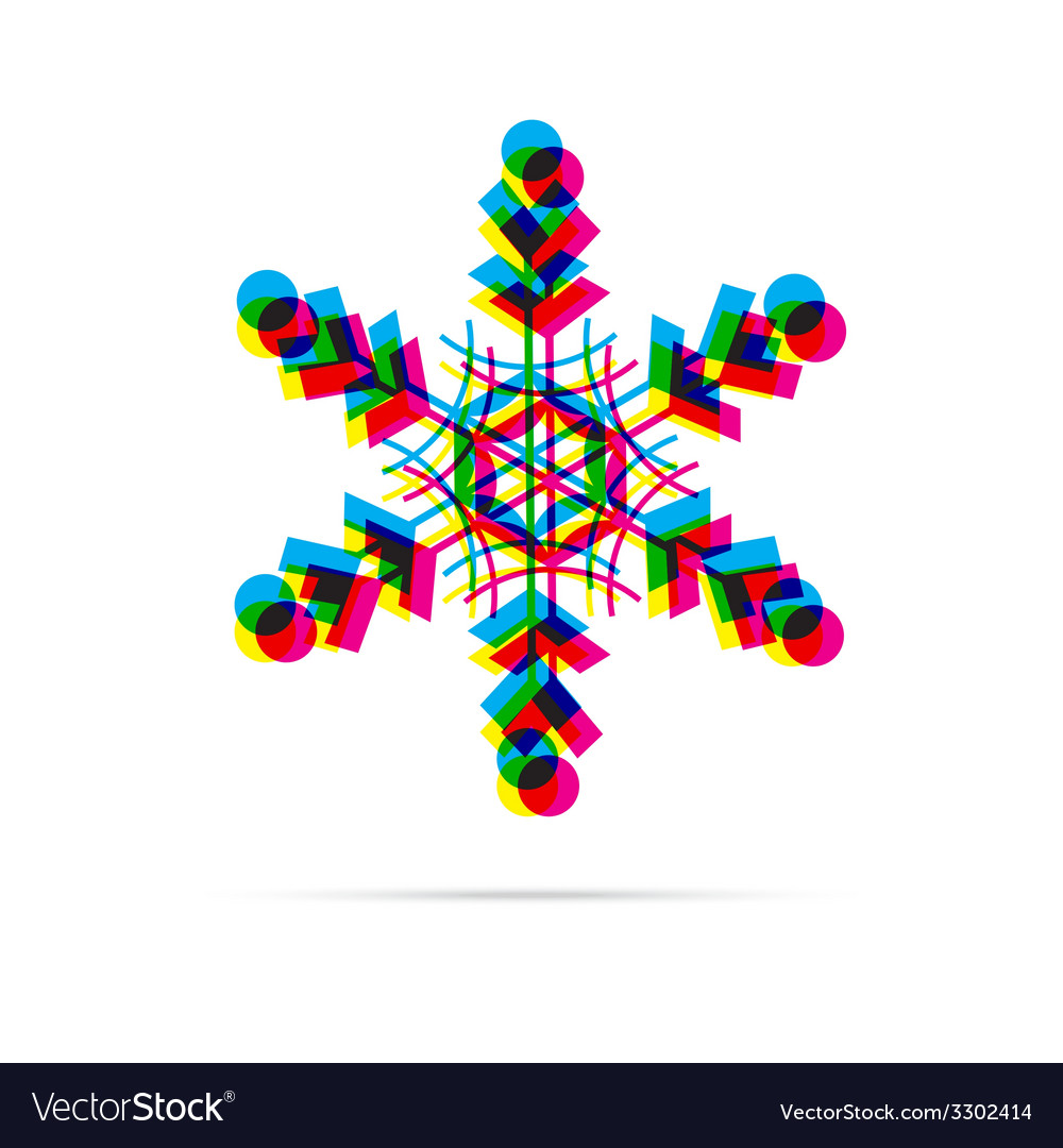 Snowflake icon with shadow vector | Price: 1 Credit (USD $1)